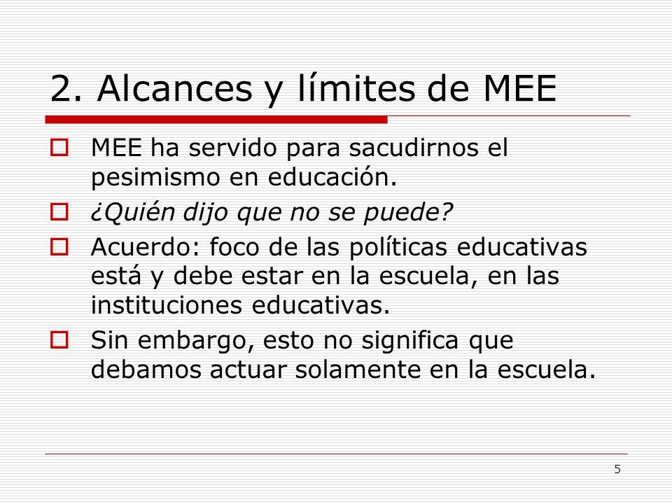 5 2. Alcances y límites de MEE MEE ha servido para sacudirnos el pesimismo en educación. ¿Quién dijo que no se puede? Acuerdo: foco de las políticas e