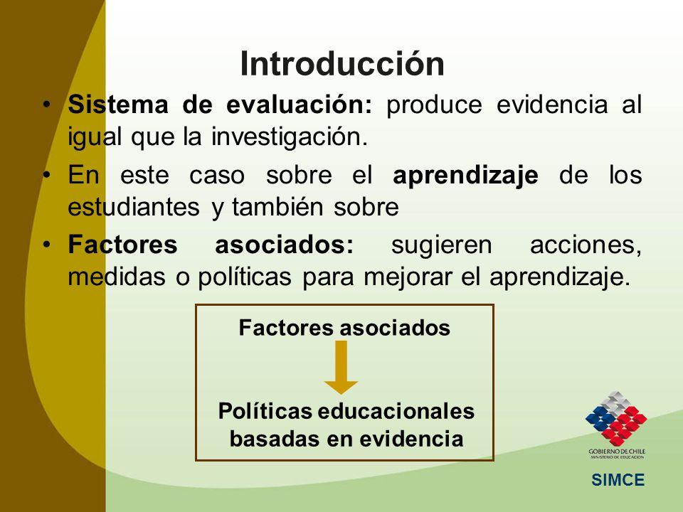 SIMCE Introducción Sistema de evaluación: produce evidencia al igual que la investigación. En este caso sobre el aprendizaje de los estudiantes y tamb