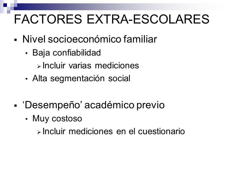 FACTORES EXTRA-ESCOLARES Composición socioeconómica familiar Composición académica Incluir sólo las que corresponden a mediciones individuales significativas Contexto escolar: variables no-agregadas Incluir mediciones en el cuestionario