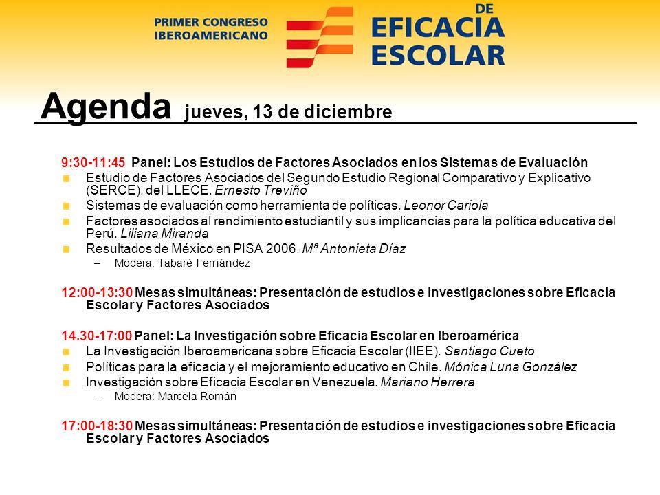 Agenda viernes, 14 de diciembre 09:00-11:00 Panel: Los docentes, actores clave en la mejora de la escuela Investigación Latinoamericana sobre Enseñanza Eficaz.