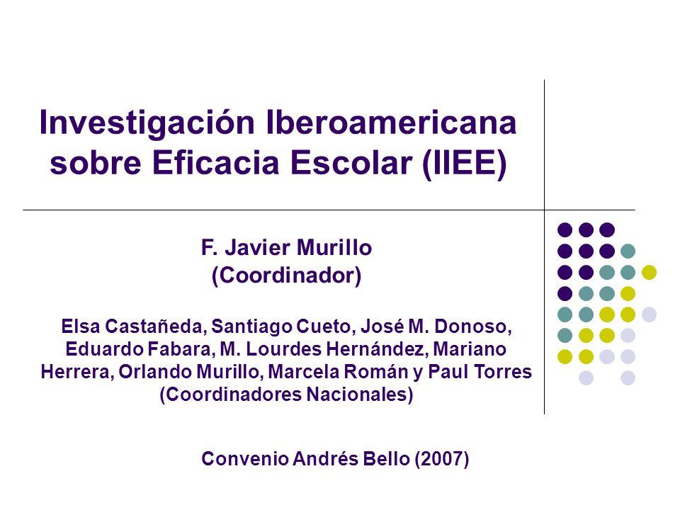 Investigación Iberoamericana sobre Eficacia Escolar (IIEE) F. Javier Murillo (Coordinador) Elsa Castañeda, Santiago Cueto, José M. Donoso, Eduardo Fab