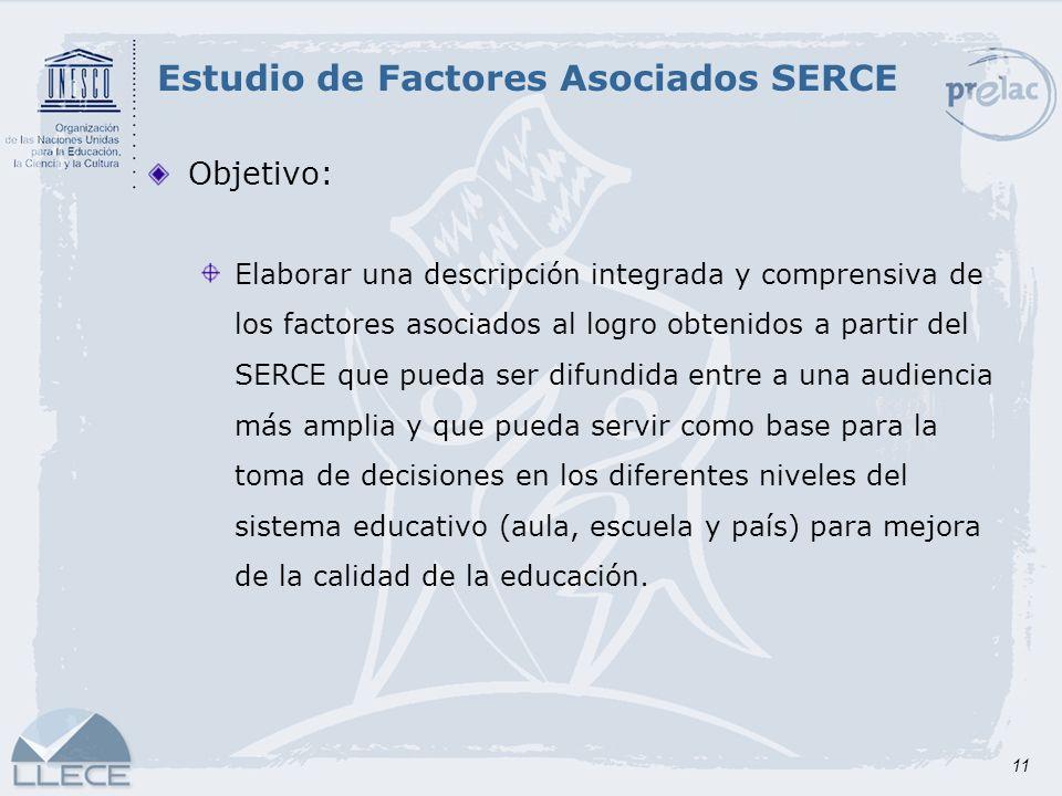 11 Objetivo: Elaborar una descripción integrada y comprensiva de los factores asociados al logro obtenidos a partir del SERCE que pueda ser difundida