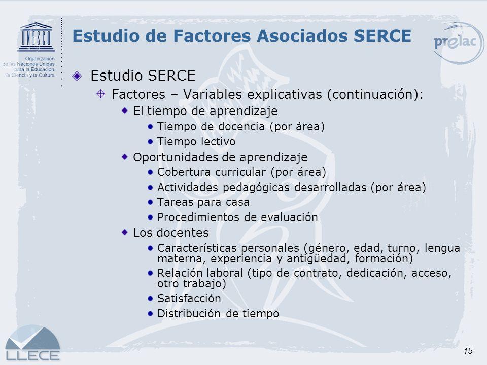 15 Estudio SERCE Factores – Variables explicativas (continuación): El tiempo de aprendizaje Tiempo de docencia (por área) Tiempo lectivo Oportunidades