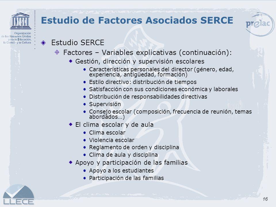 16 Estudio SERCE Factores – Variables explicativas (continuación): Gestión, dirección y supervisión escolares Características personales del director