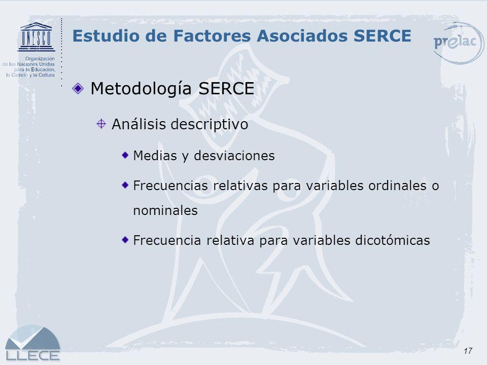 17 Metodología SERCE Análisis descriptivo Medias y desviaciones Frecuencias relativas para variables ordinales o nominales Frecuencia relativa para va