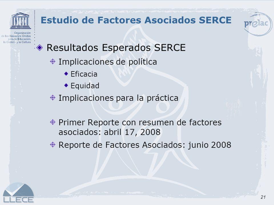 21 Resultados Esperados SERCE Implicaciones de política Eficacia Equidad Implicaciones para la práctica Primer Reporte con resumen de factores asociad