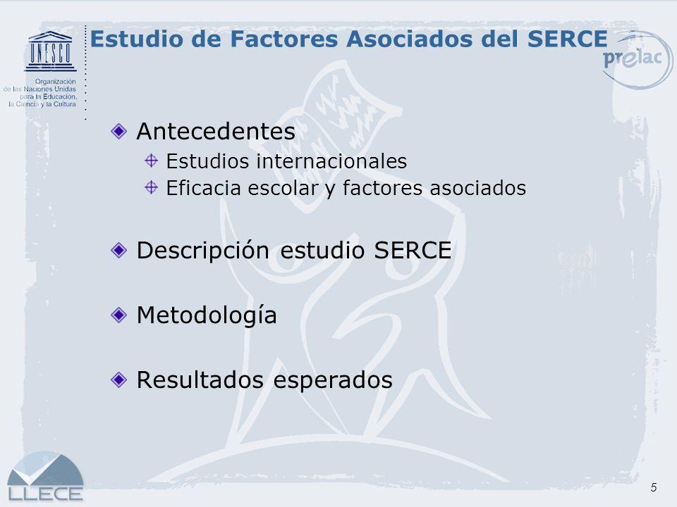 5 Antecedentes Estudios internacionales Eficacia escolar y factores asociados Descripción estudio SERCE Metodología Resultados esperados Estudio de Fa