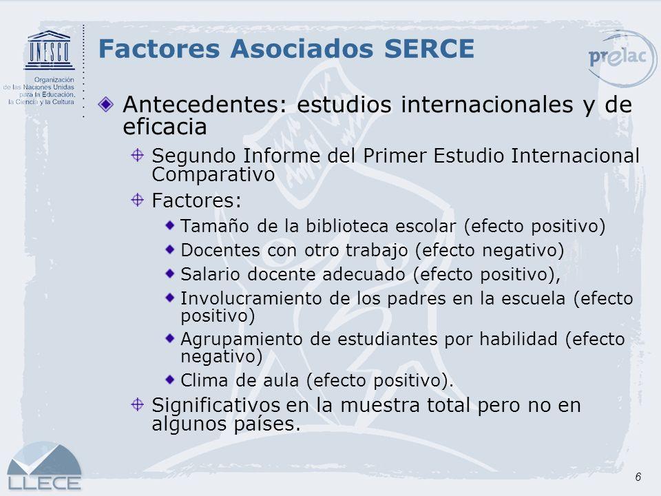 17 Metodología SERCE Análisis descriptivo Medias y desviaciones Frecuencias relativas para variables ordinales o nominales Frecuencia relativa para variables dicotómicas Estudio de Factores Asociados SERCE