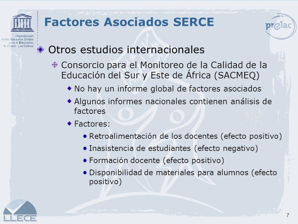7 Otros estudios internacionales Consorcio para el Monitoreo de la Calidad de la Educación del Sur y Este de África (SACMEQ) No hay un informe global