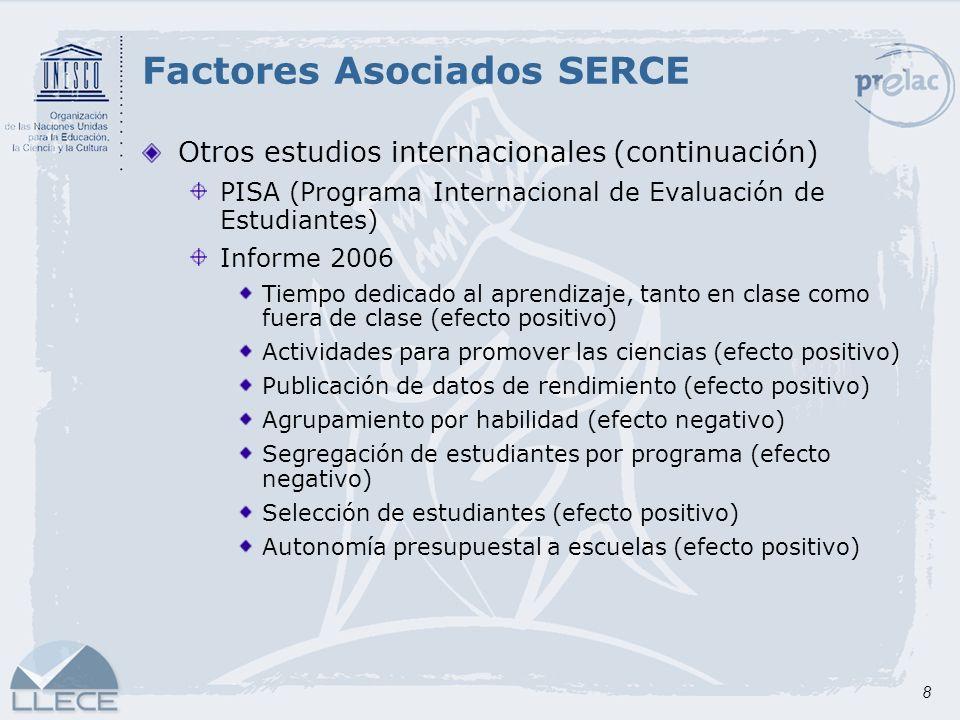 8 Otros estudios internacionales (continuación) PISA (Programa Internacional de Evaluación de Estudiantes) Informe 2006 Tiempo dedicado al aprendizaje