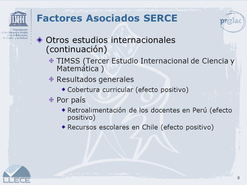 9 Otros estudios internacionales (continuación) TIMSS (Tercer Estudio Internacional de Ciencia y Matemática ) Resultados generales Cobertura curricula
