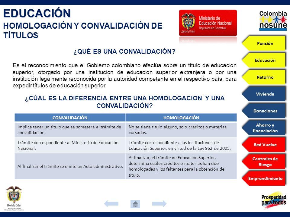 EDUCACIÓN HOMOLOGACIÓN Y CONVALIDACIÓN DE TÍTULOS Es el reconocimiento que el Gobierno colombiano efectúa sobre un título de educación superior, otorg