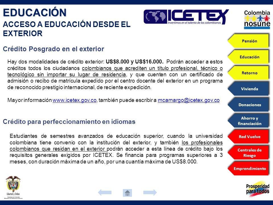 Estudiantes de semestres avanzados de educación superior, cuando la universidad colombiana tiene convenio con la institución del exterior, y también l