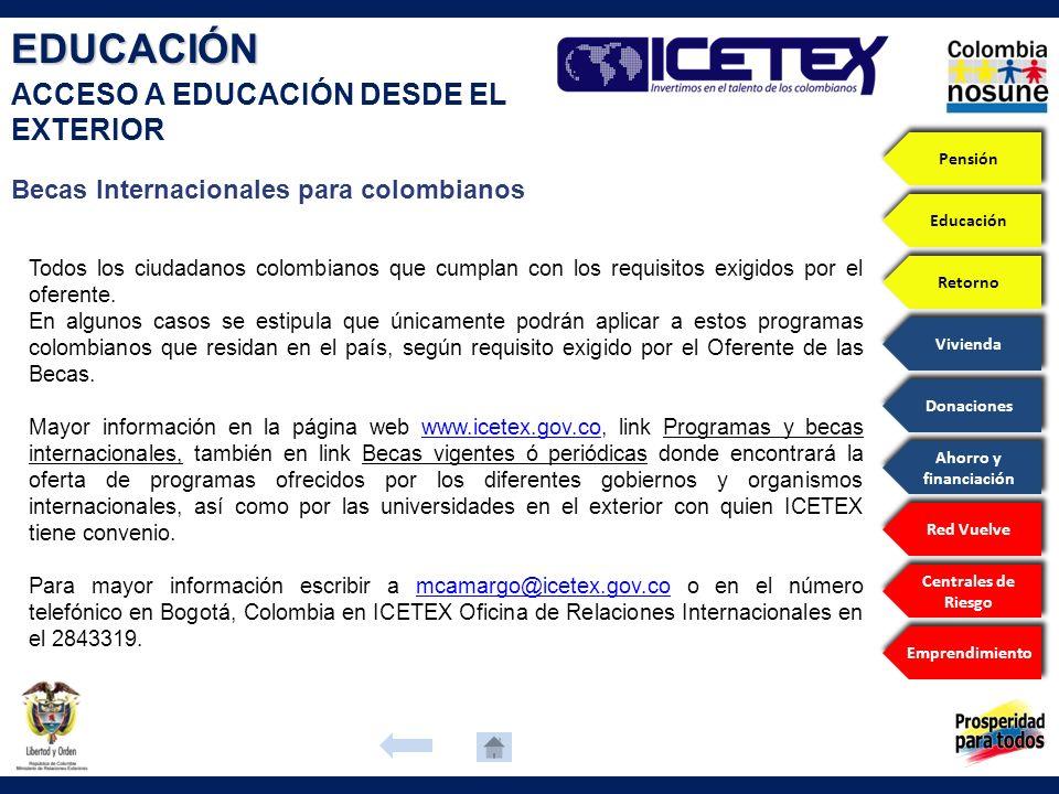 Becas Internacionales para colombianos Todos los ciudadanos colombianos que cumplan con los requisitos exigidos por el oferente. En algunos casos se e