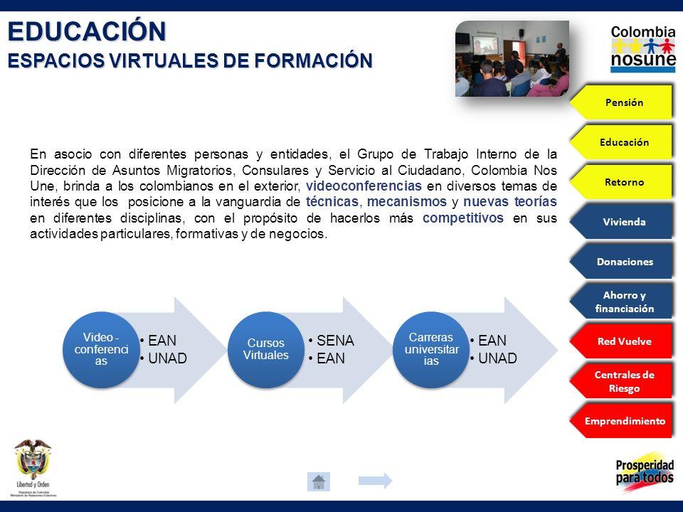 EDUCACIÓN ESPACIOS VIRTUALES DE FORMACIÓN En asocio con diferentes personas y entidades, el Grupo de Trabajo Interno de la Dirección de Asuntos Migrat