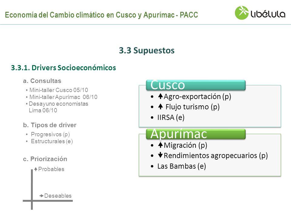 3.3 Supuestos Probables Deseables Agro-exportación (p) Flujo turismo (p) IIRSA (e) Cusco Migración (p) Rendimientos agropecuarios (p) Las Bambas (e) A