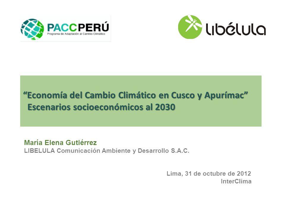 Economía del Cambio Climático en Cusco y Apurímac Escenarios socioeconómicos al 2030 Escenarios socioeconómicos al 2030 María Elena Gutiérrez LIBELULA