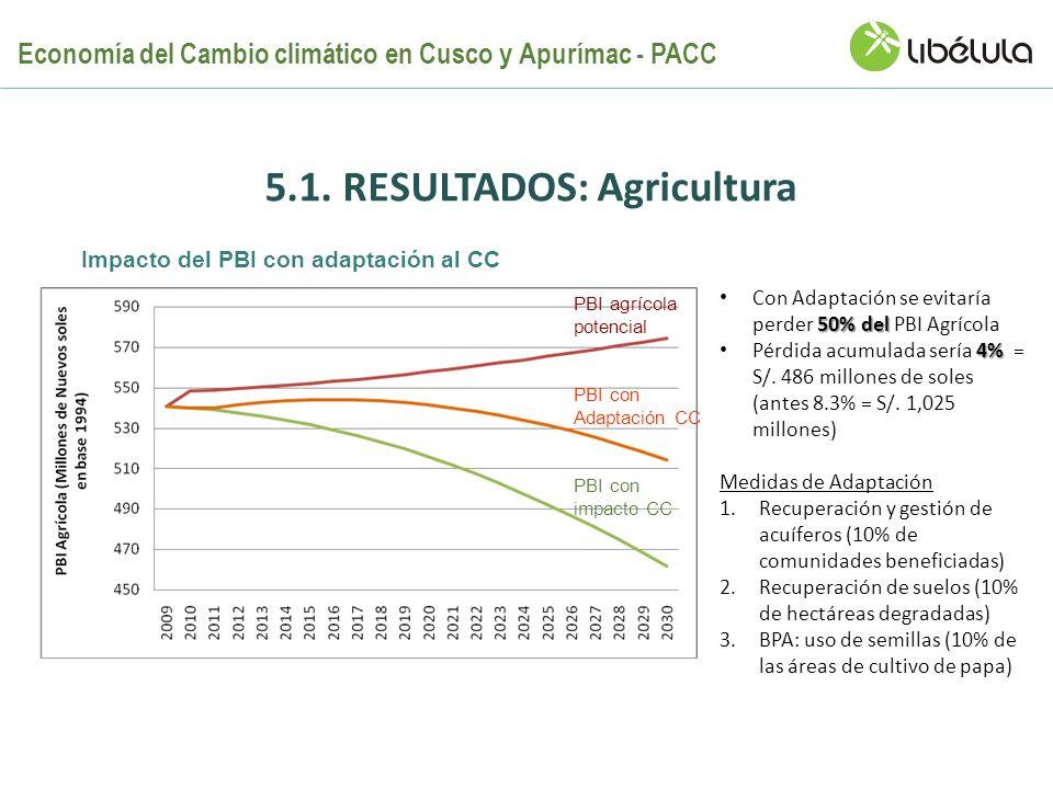 5.1. RESULTADOS: Agricultura PBI agrícola potencial PBI con Adaptación CC PBI con impacto CC 50% del Con Adaptación se evitaría perder 50% del PBI Agr
