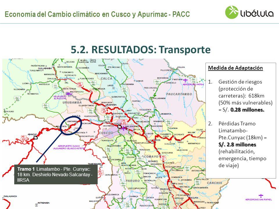 5.2. RESULTADOS: Transporte Medida de Adaptación 0.28 millones. 1.Gestión de riesgos (protección de carreteras): 618km (50% más vulnerables) = S/. 0.2