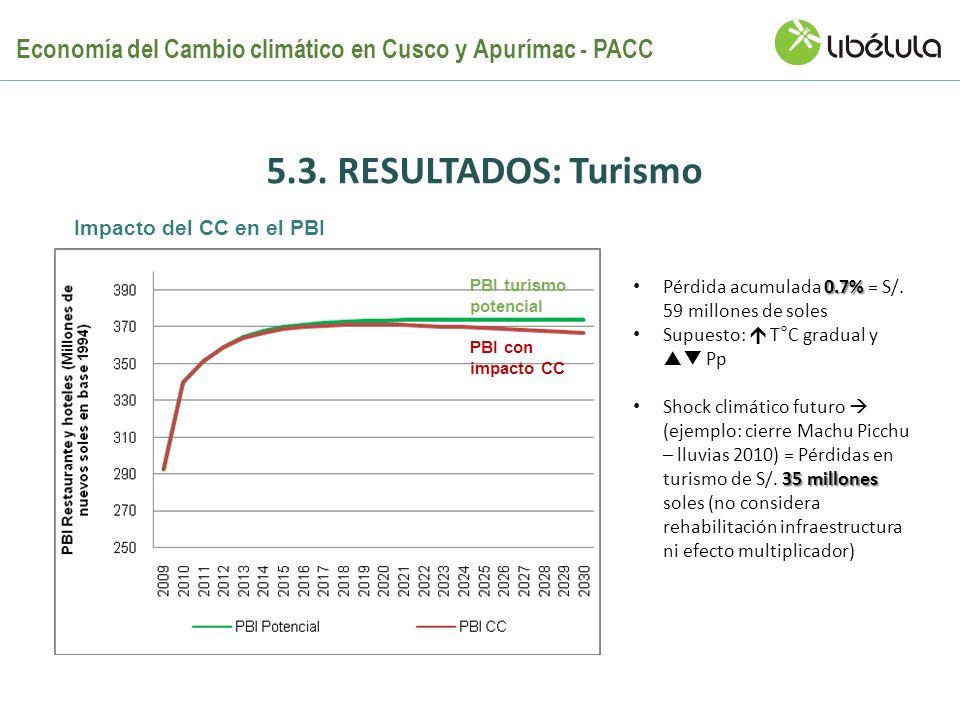5.3. RESULTADOS: Turismo 0.7% Pérdida acumulada 0.7% = S/. 59 millones de soles Supuesto: T°C gradual y Pp 35 millones Shock climático futuro (ejemplo