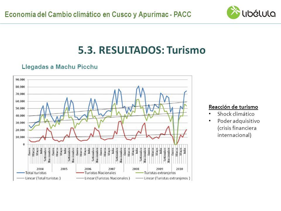 5.3. RESULTADOS: Turismo Reacción de turismo Shock climático Poder adquisitivo (crisis financiera internacional) Llegadas a Machu Picchu Economía del