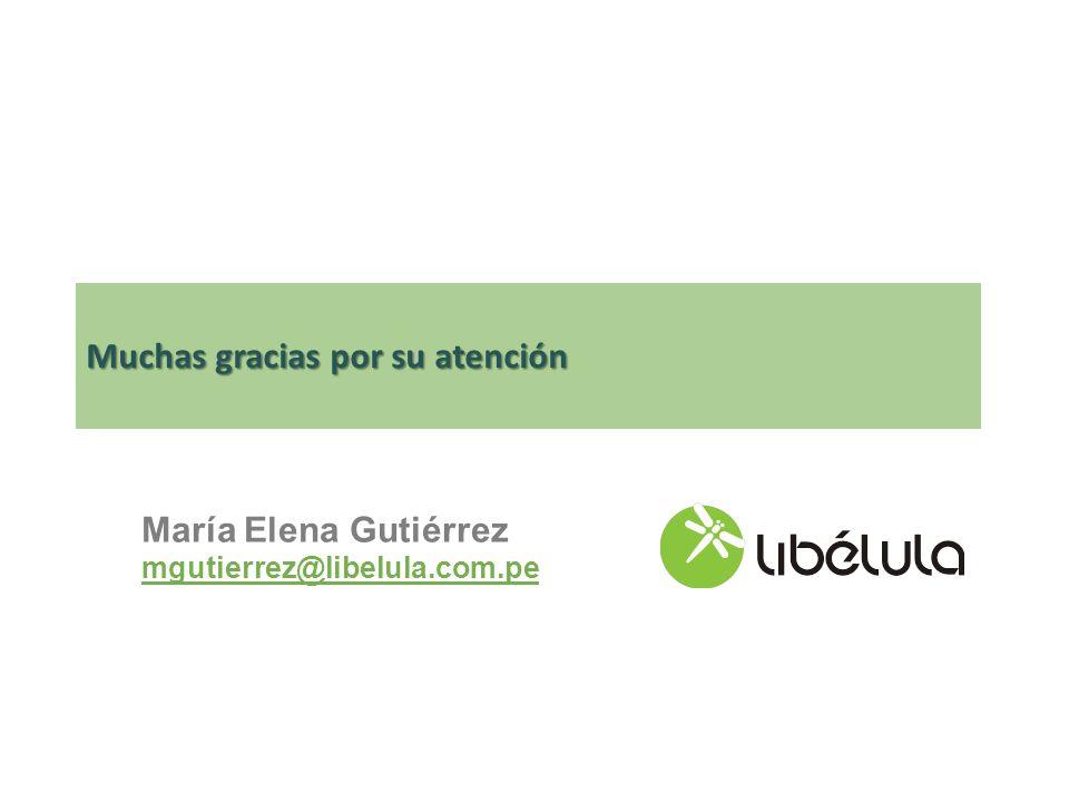 Muchas gracias por su atención María Elena Gutiérrez mgutierrez@libelula.com.pe