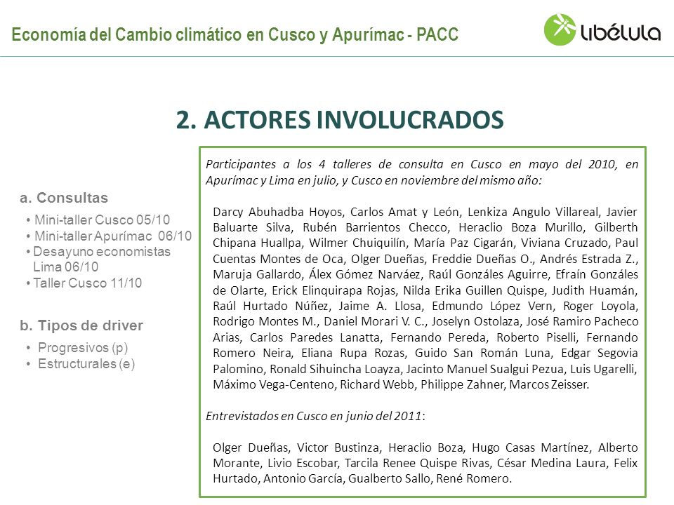 Progresivos (p) Estructurales (e) b. Tipos de driver Mini-taller Cusco 05/10 Mini-taller Apurímac 06/10 Desayuno economistas Lima 06/10 Taller Cusco 1