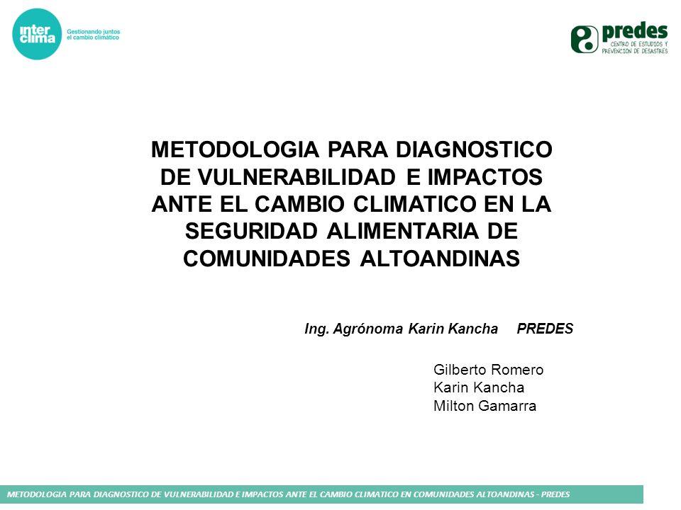 METODOLOGIA PARA DIAGNOSTICO DE VULNERABILIDAD E IMPACTOS ANTE EL CAMBIO CLIMATICO EN COMUNIDADES ALTOANDINAS - PREDES METODOLOGIA PARA DIAGNOSTICO DE