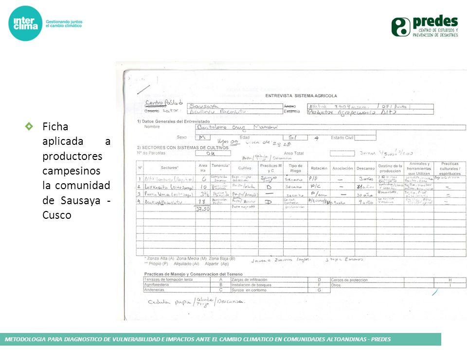 METODOLOGIA PARA DIAGNOSTICO DE VULNERABILIDAD E IMPACTOS ANTE EL CAMBIO CLIMATICO EN COMUNIDADES ALTOANDINAS - PREDES Ficha aplicada a productores ca