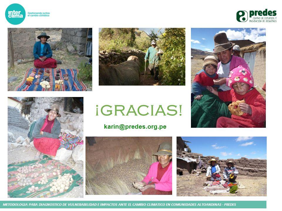 METODOLOGIA PARA DIAGNOSTICO DE VULNERABILIDAD E IMPACTOS ANTE EL CAMBIO CLIMATICO EN COMUNIDADES ALTOANDINAS - PREDES ¡GRACIAS! karin@predes.org.pe