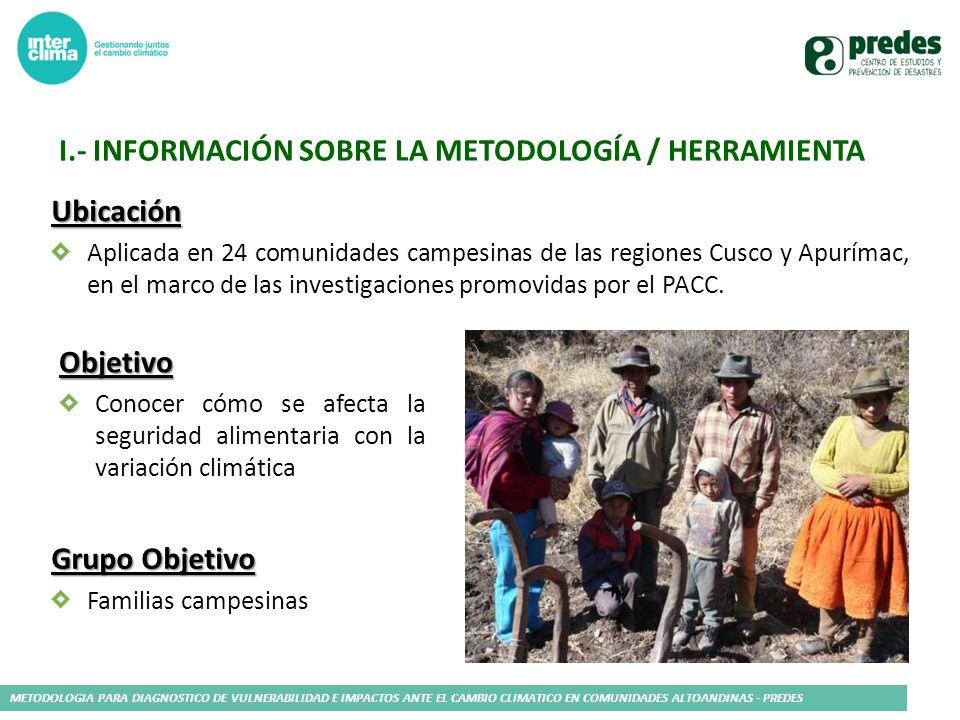 METODOLOGIA PARA DIAGNOSTICO DE VULNERABILIDAD E IMPACTOS ANTE EL CAMBIO CLIMATICO EN COMUNIDADES ALTOANDINAS - PREDES I.- INFORMACIÓN SOBRE LA METODO
