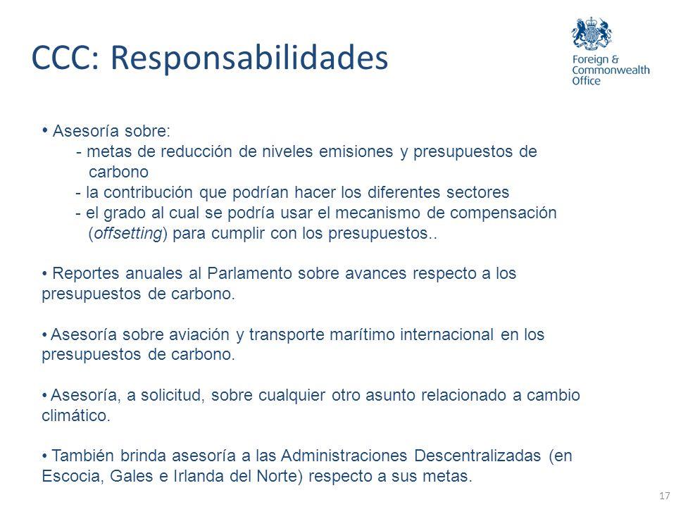 17 CCC: Responsabilidades Asesoría sobre: - metas de reducción de niveles emisiones y presupuestos de carbono - la contribución que podrían hacer los