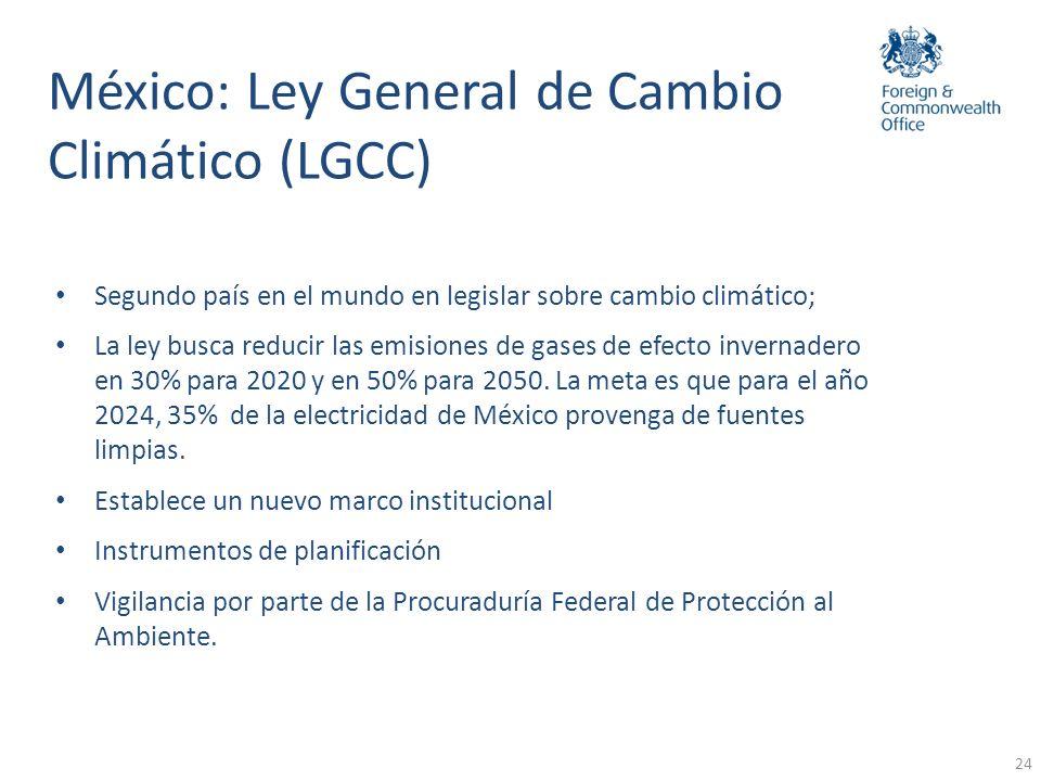 24 México: Ley General de Cambio Climático (LGCC) Segundo país en el mundo en legislar sobre cambio climático; La ley busca reducir las emisiones de g