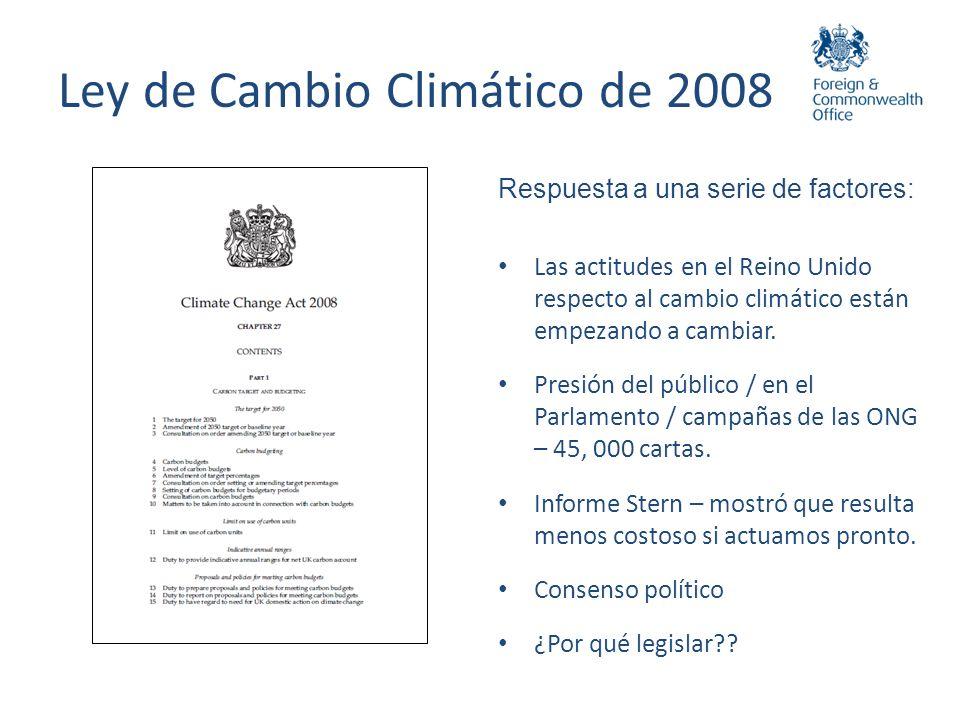 Ley de Cambio Climático de 2008 Respuesta a una serie de factores: Las actitudes en el Reino Unido respecto al cambio climático están empezando a camb