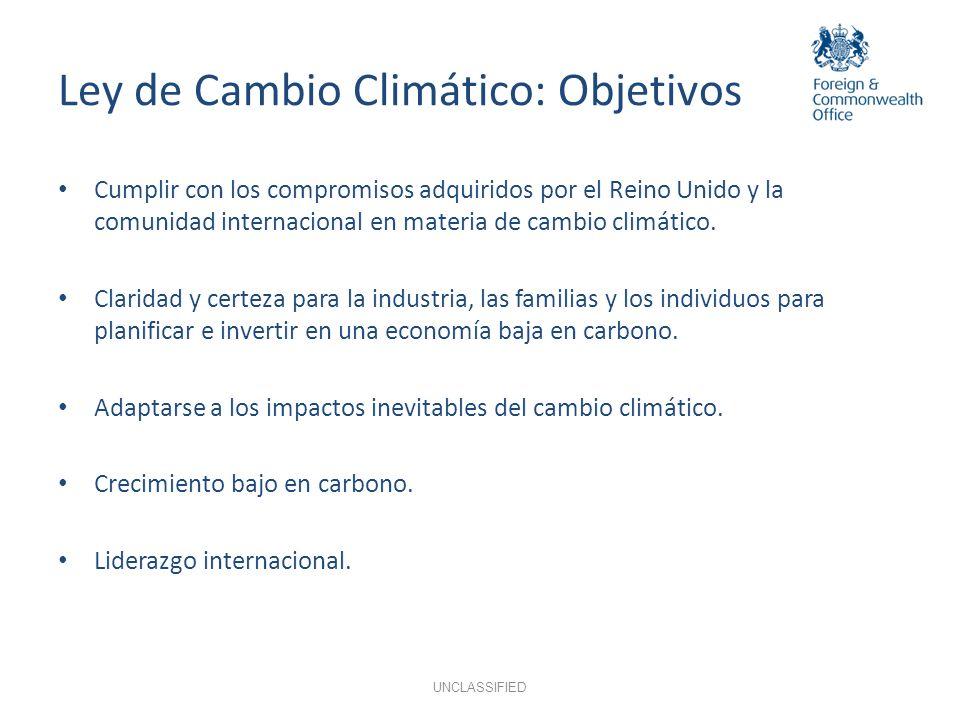 Ley de Cambio Climático: Objetivos UNCLASSIFIED Cumplir con los compromisos adquiridos por el Reino Unido y la comunidad internacional en materia de c
