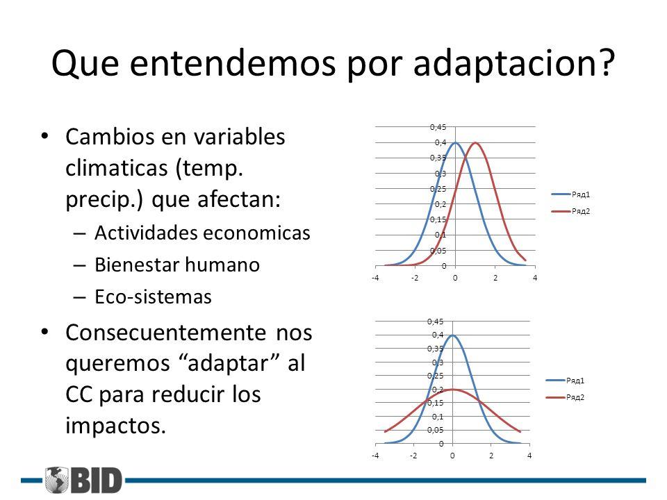 Que entendemos por adaptacion? Cambios en variables climaticas (temp. precip.) que afectan: – Actividades economicas – Bienestar humano – Eco-sistemas