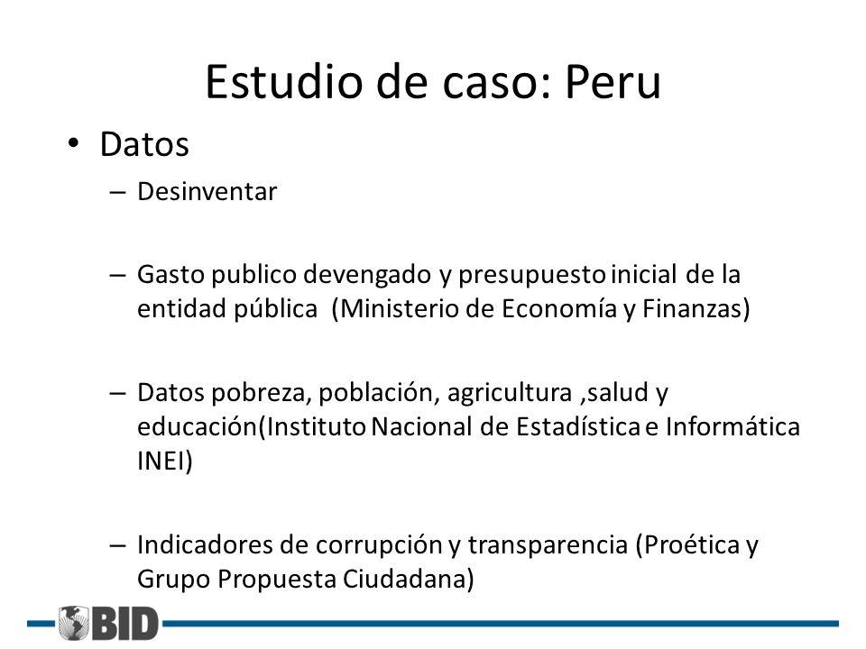 Estudio de caso: Peru Datos – Desinventar – Gasto publico devengado y presupuesto inicial de la entidad pública (Ministerio de Economía y Finanzas) –