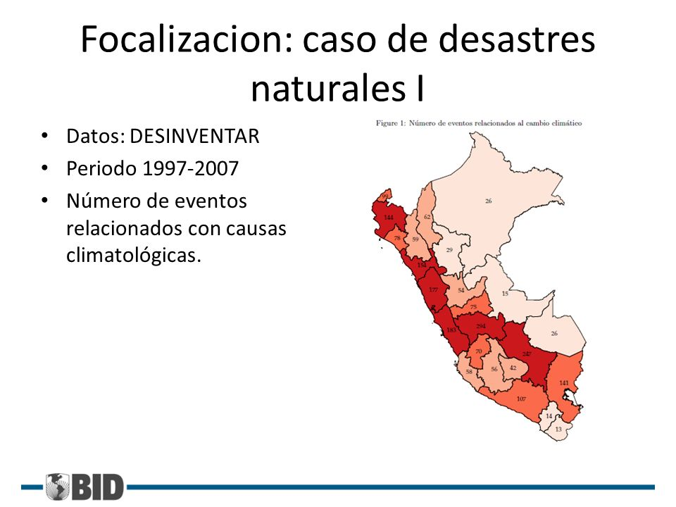 Focalizacion: caso de desastres naturales I Datos: DESINVENTAR Periodo 1997-2007 Número de eventos relacionados con causas climatológicas.