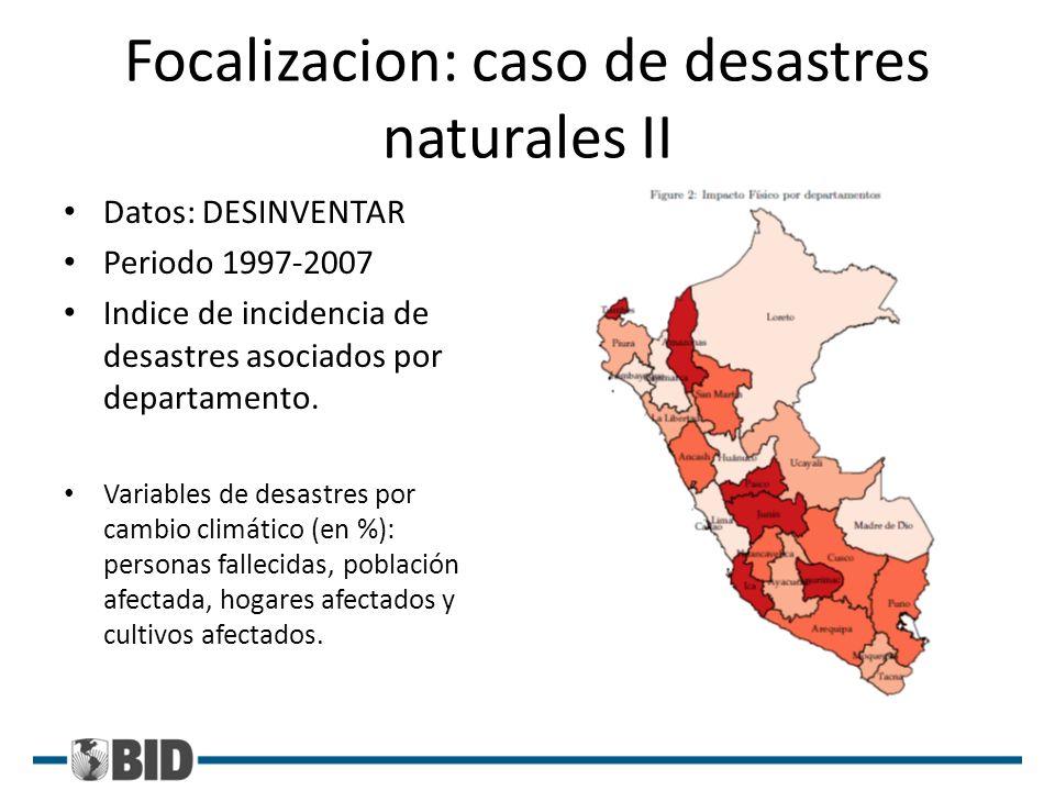 Focalizacion: caso de desastres naturales II Datos: DESINVENTAR Periodo 1997-2007 Indice de incidencia de desastres asociados por departamento. Variab