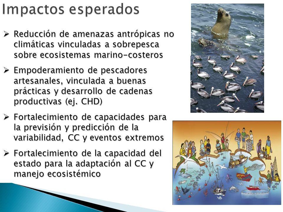 Reducción de amenazas antrópicas no climáticas vinculadas a sobrepesca sobre ecosistemas marino-costeros Reducción de amenazas antrópicas no climática