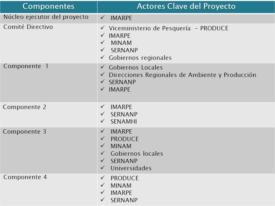 Componentes Actores Clave del Proyecto Núcleo ejecutor del proyecto IMARPE Comité Directivo Viceministerio de Pesquería - PRODUCE IMARPE MINAM SERNANP