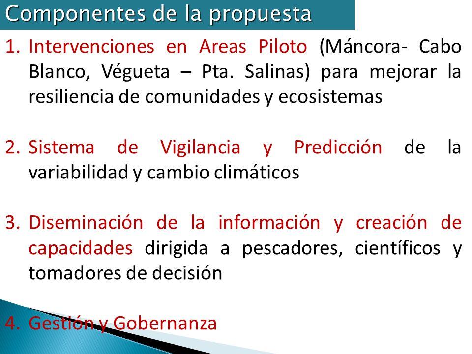 Implementación del espinel en la franja costera y para pesca de altura (Máncora) Apoyo a certificación y plan de negocios de pesquería de merluza (Ñuro) y del atún Apoyo a creación de microempresa de ecoturismo con pescadores (Cabo Blanco, Organos) Apoyo a repoblamiento de BBNN Posible mapa de Intervenciones: Máncora