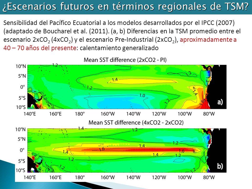 Sensibilidad del Pacífico Ecuatorial a los modelos desarrollados por el IPCC (2007) (adaptado de Boucharel et al. (2011). (a, b) Diferencias en la TSM