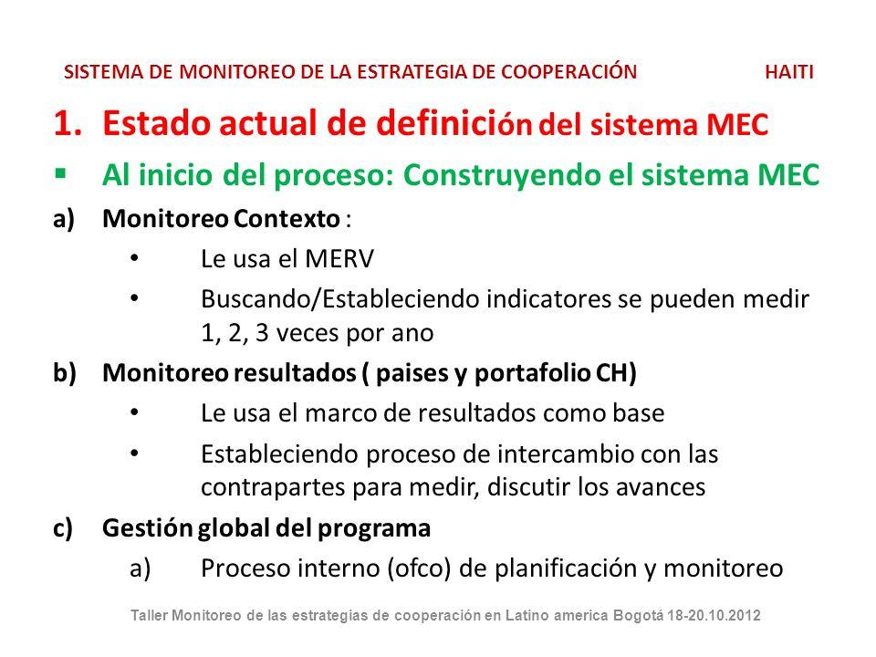 SISTEMA DE MONITOREO DE LA ESTRATEGIA DE COOPERACIÓN HAITI 1.Estado actual de definici ón del sistema MEC Al inicio del proceso: Construyendo el sistema MEC a)Monitoreo Contexto : Le usa el MERV Buscando/Estableciendo indicatores se pueden medir 1, 2, 3 veces por ano b)Monitoreo resultados ( paises y portafolio CH) Le usa el marco de resultados como base Estableciendo proceso de intercambio con las contrapartes para medir, discutir los avances c)Gestión global del programa a)Proceso interno (ofco) de planificación y monitoreo Taller Monitoreo de las estrategias de cooperación en Latino america Bogotá 18-20.10.2012