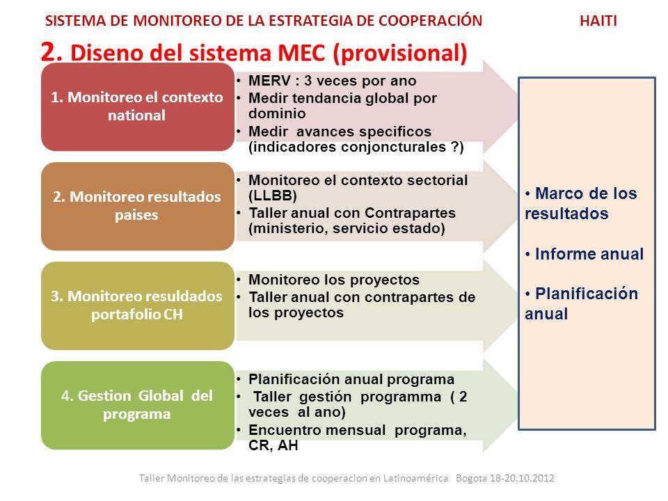 2. Diseno del sistema MEC (provisional) Taller Monitoreo de las estrategias de cooperacion en Latinoamérica Bogota 18-20.10.2012 SISTEMA DE MONITOREO
