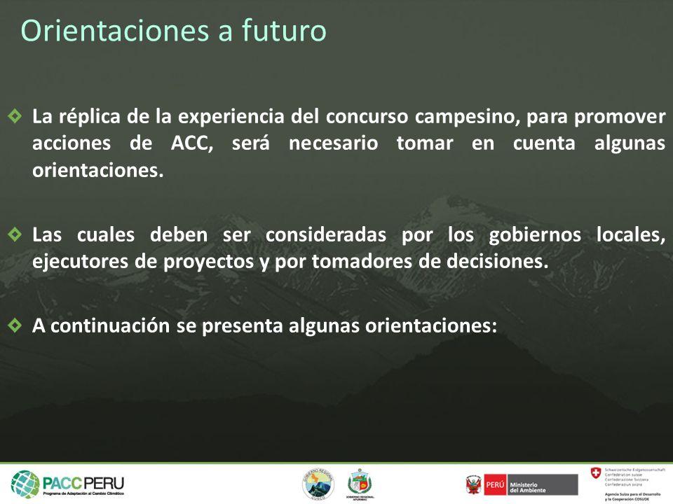 Orientaciones a futuro La réplica de la experiencia del concurso campesino, para promover acciones de ACC, será necesario tomar en cuenta algunas orie
