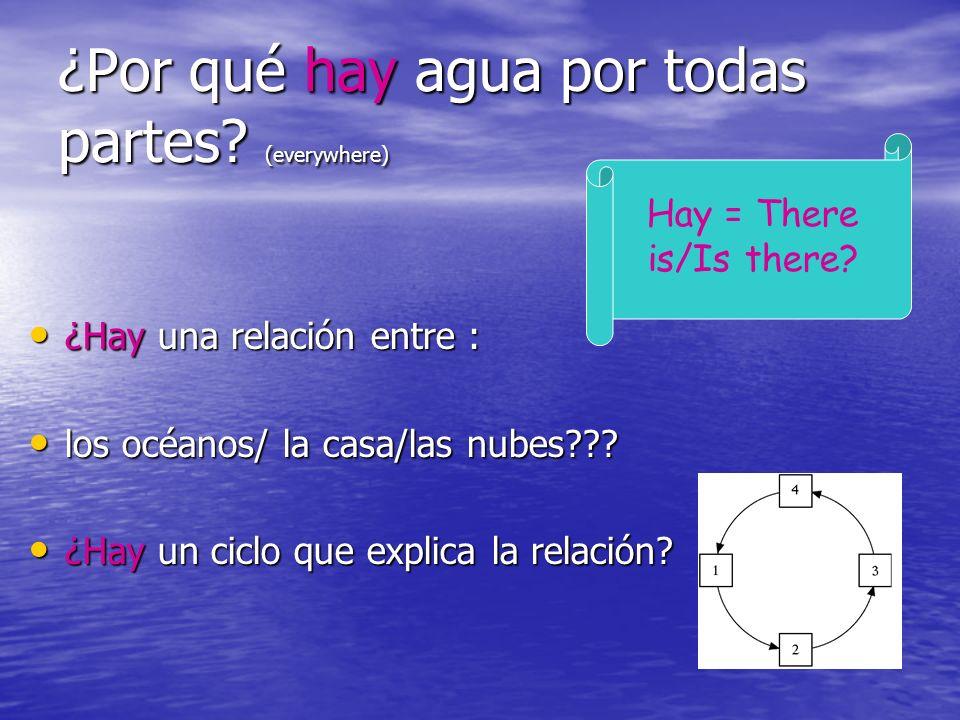 ¿Por qué hay agua por todas partes? (everywhere) ¿Hay una relación entre : ¿Hay una relación entre : los océanos/ la casa/las nubes??? los océanos/ la