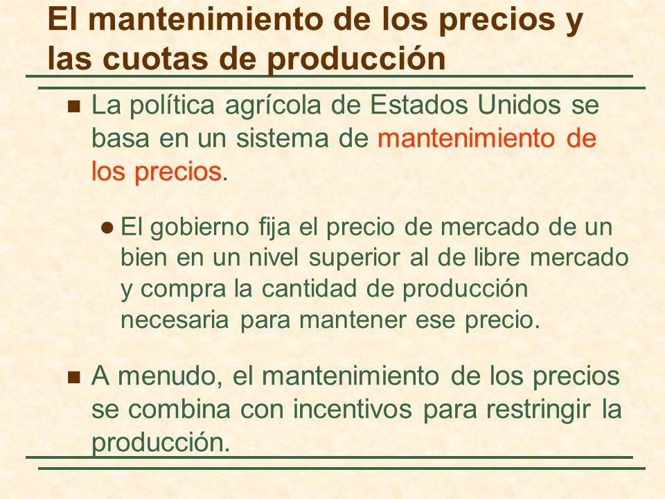 El mantenimiento de los precios y las cuotas de producción La política agrícola de Estados Unidos se basa en un sistema de mantenimiento de los precios.