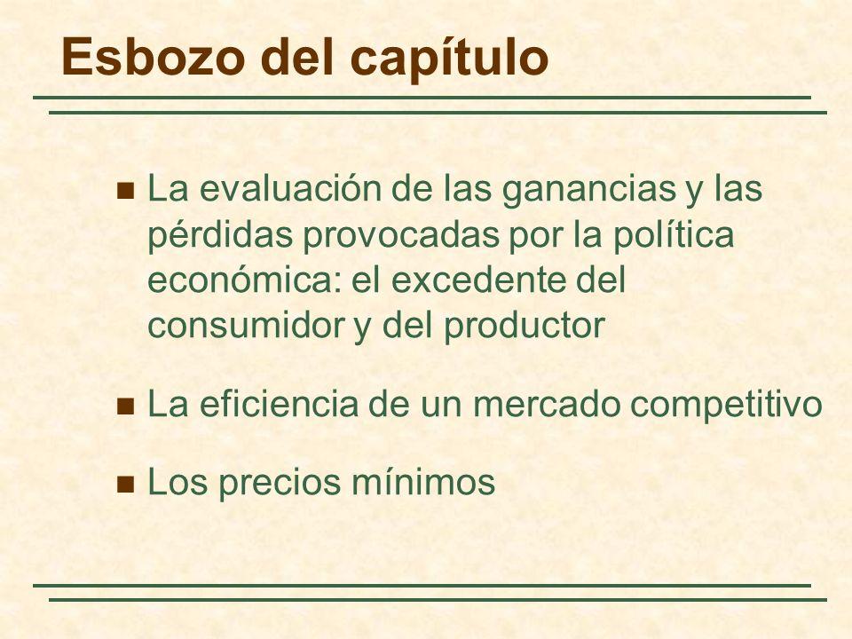 Esbozo del capítulo La evaluación de las ganancias y las pérdidas provocadas por la política económica: el excedente del consumidor y del productor La eficiencia de un mercado competitivo Los precios mínimos