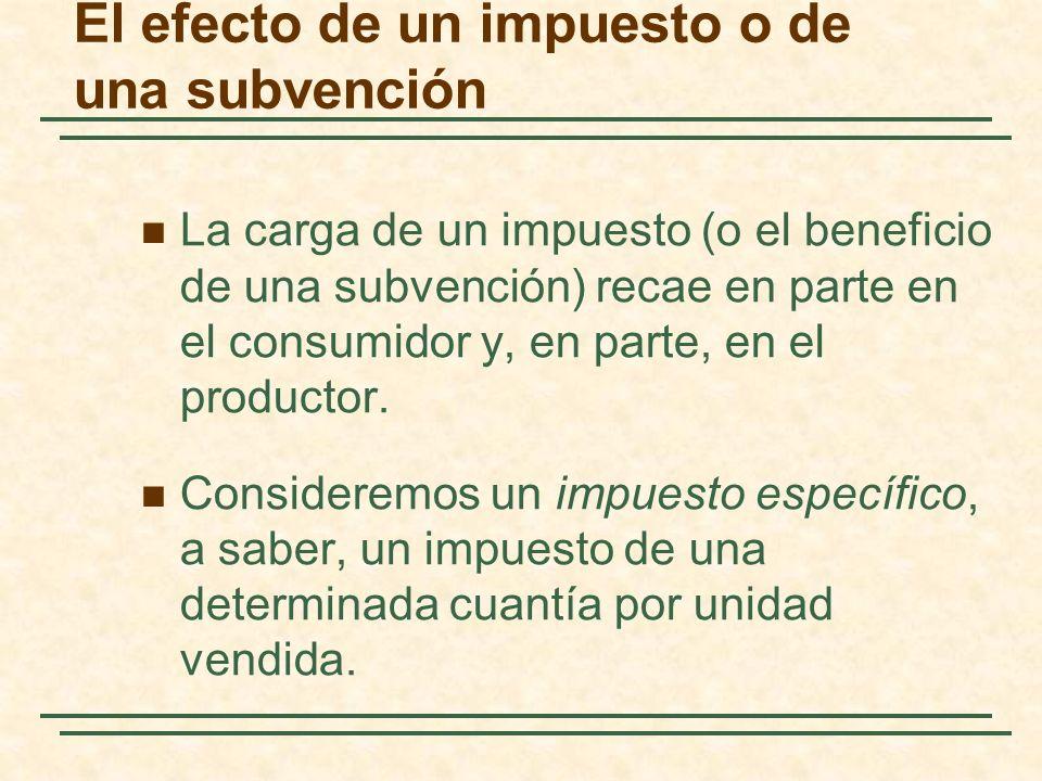 El efecto de un impuesto o de una subvención La carga de un impuesto (o el beneficio de una subvención) recae en parte en el consumidor y, en parte, en el productor.